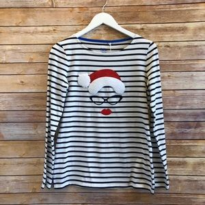 Boden Fun Breton Mother Christmas Long Sleeve Tee